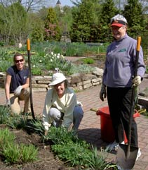 volunteers working on the gardens